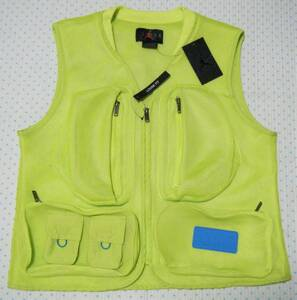 ナイキ NIKE AIR JORDAN JUMPMAN 23 エンジニアードスペーサーメッシュベスト・ジャケット 黄緑色 サイズ M 多用途ポケット多数あり