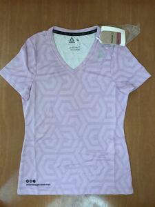 リーボック   VネックTシャツ ランニングウェア トレーニングウェア レディース