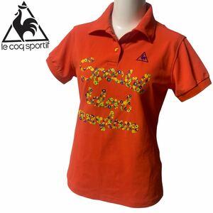 ★美品 ルコック スポルティフ 半袖ポロシャツ 3段ロゴ オレンジ系 Mサイズ ゴルフウェア レディース Le coq sportif GOLF