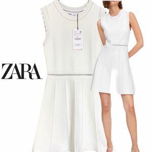 ★未使用 ZARA OPENWORK KNIT DRESS ザラ オープンワーク ニットドレス ノースリーブワンピース US:S JP:M程度 ホワイト系 レディース