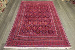 赤x青 ヴィンテージ アフガニスタン トライバルラグ マシュワニキリム オールド手織りキリム&絨毯 135x185cm #869