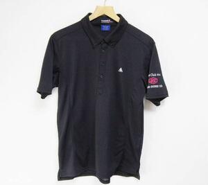 ルコックゴルフ Le coq sportif GOLF Vカットパターン 秒乾オックスニット 半袖ボタンダウンシャツ L 黒 ポロシャツ
