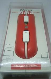 未使用 iWires  IEEE1394b FireWire800ケーブル 9pin-4pin 2.0m ホワイト 2本セット