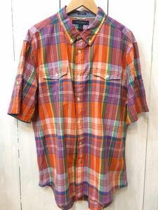Tommy Hilfiger トミーヒルフィガー 美品 コットンシャツ 半袖シャツ ボタンダウン チェック柄 メンズXL 良品綺麗
