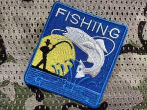 """釣り/Fishing□刺繍""""3D""""アイロンパッチ=ワッペン#アップリケ/アイロン式Patch/size:7.5×6.7cm■1枚:BigOFF!送料込み799円"""