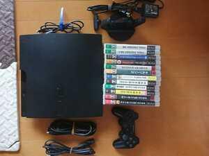 お買い得 美品 PS3 CECH-3000A 500GB換装 黒 SONY プレイステーション3 PlayStation3 本体一式 ソフト12本セット 純正充電スタンド