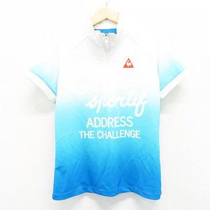【即決】LECOQ GOLF ルコックゴルフ ハーフジップ 半袖 Tシャツ グラデーション ホワイト系 L [240001562521] ゴルフウェア レディース
