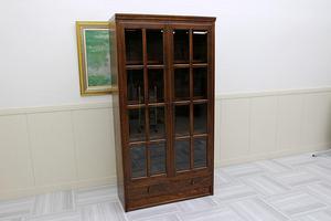 美品!三越家具 ブルージュBrugge 英国アンティーク調 日本製 本棚 飾り棚 キャビネット ブックシェルフ 高級家具