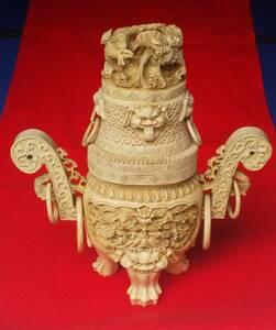 象牙風 獅子 雲龍 香炉 置物 細密彫刻 東洋彫刻 古玩