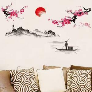 (NO.237)DIY剥がせる壁飾りウォールステッカー綺麗な仕上がり 旭日 梅花