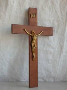 フランスアンティーク 十字架 木製 1939年クロス ウォール 壁掛け キリスト 教会 装飾 雑貨 インテリア フレンチ 蚤の市