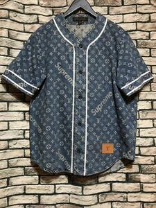 ★LOUIS VUITTON×Supreme ルイヴィトン×シュプリーム★17AW LV Jacquard Denim Baseball Jerseyモノグラムロゴデニムベースボールシャツ