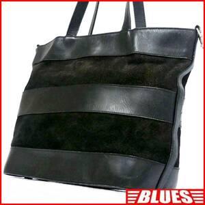 即決★N.B.★オールレザートートバッグ メンズ 黒 ボーダー スエード 本革 ハンドバッグ 本皮 かばん 通勤 トラベル 出張 レディース 鞄