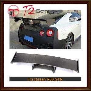 T2GARAGE カーボン レーシング リアウイングスポイラー日産R35 GT-R GTR 2009-2015リアテールトランク リップウィングスポイラーFRP