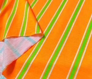 オレンジ ストライプ Tシャツニット 生地 布 ハギレ はぎれ ハンドメイド ニット生地 コットン