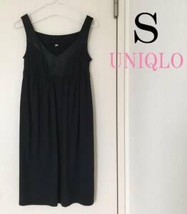 ユニクロ ワンピース 黒 UNIQLO リボン付き ブラック チュニック風 ノースリーブ Sサイズ