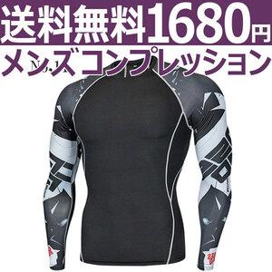 コンプレッションウエア No,11 Mサイズ メンズ 加圧インナー アンダーシャツ トレーニングウエア スポーツウエア 長袖 吸汗 速乾 p18