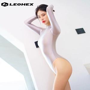 LEOHEX 2021夏最新作 ☆長袖レオタード☆ 競泳水着型レースクイーン ハイレグレオタード グレー XXLサイズ