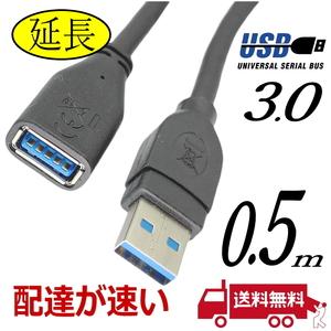 USB延長ケーブル 0.5m 高速転送 USB3.0 A(オス)-A(メス) 3AAE-05【送料無料】