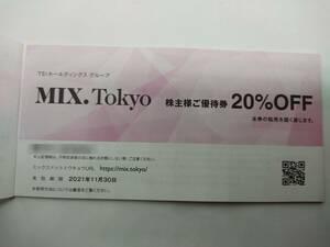 最新 TSI 株主様ご優待券 MIX.Tokyo 20%割引 1-4枚 / HUMAN WOMAN / ADORE / BOSCH 他