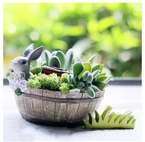 S-202 プランター おしゃれ かわいい ウサギとお花 多肉植物 植木鉢