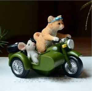 S-169 かわいい 猫 ネズミ サイドカー 置物 動物オーナメント ミニチュア妖 卓上装飾 サイズ: 11*8.5*9cm