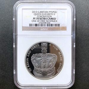 2013 英国 エリザベス2世戴冠60周年記念 5ポンド プラチナ貨 プルーフ NGC PF 70 UC ONE OF FIRST 50 STRUCK 最高鑑定 完全未使用品
