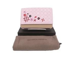 【634005】未使用品本物ボッテガ ヴェネタ Bottega Venetaカードケース 名刺入れイントレチャート 刺繍 レザー ピンク