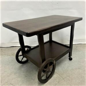 ねE0610an karimoku カリモク家具 天然木 ダイニングワゴンテーブル キャスター付き 車輪付き 食卓テーブル