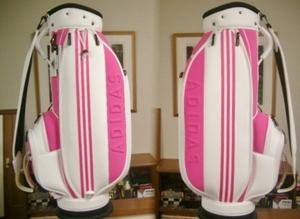 未使用 アディダス レディース 立体ADIDAS×3本ライン 合皮×ウレタン風 白ピンク ゴルフバッグ