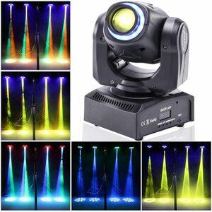 U`King ステージライト ムービングヘッドライト 50W LED 舞台照明 照明リング付き 8色 8つのゴボ DMX512 音声起動n468