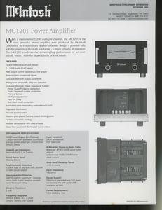 McIntosh MC1201の英語カタログ マッキントッシュ 管4986