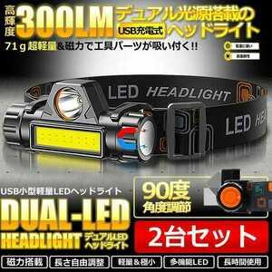 LEDヘッドライト 2台セット USB充電式 キャンプ アウトドア 登山 夜間作業 夜釣り LEDヘッドランプ IPX6 コンパクト ジェントス 軽量