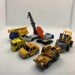 ジャンク品7点 工事現場 クレーン車など 種類ばらばら ミニカー トミカなど
