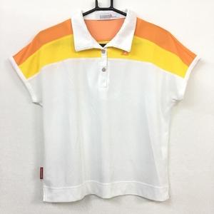 【美品】le coq sportif ルコック 半袖ポロシャツ 白×イエロー×オレンジ スナップボタン レディース L ゴルフウェア
