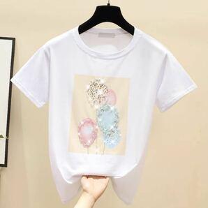 クーポン券ご利用可!レディース 半袖 Tシャツ ゆったり 韓国風 ビ 夏快適 M