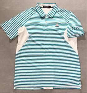 《le coq sportif GOLF ルコックゴルフ》ホワイトライン ロゴ刺繍 ボーダー柄 メッシュ切替 半袖 ポロシャツ ホワイト×ブルー LL