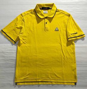 《le coq sportif GOLF ルコックゴルフ》ホワイトライン ロゴ刺繍 半袖 ポロシャツ イエロー M