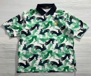 《le coq sportif GOLF ルコックゴルフ》ロゴ刺繍 ロゴ総柄 半袖 ポロシャツ ホワイト×グリーン×ブラック L