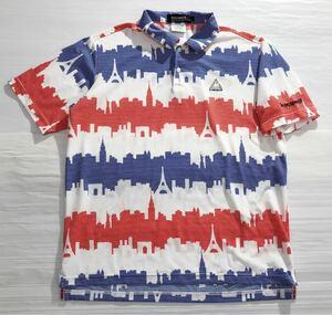 《le coq sportif GOLF ルコックゴルフ》ホワイトライン ロゴ刺繍 トリコロールカラー 半袖 ポロシャツ ホワイト×ブルー×レッド L