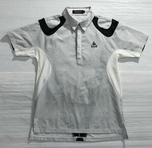 《le coq sportif GOLF ルコックゴルフ》ロゴ刺繍 格子柄 ボタンダウン 半袖 ポロシャツ ホワイト×ブラック M