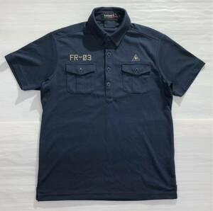 《le coq sportif GOLF ルコックゴルフ》ロゴ FR-03刺繍 半袖 ポロシャツ ネイビー M