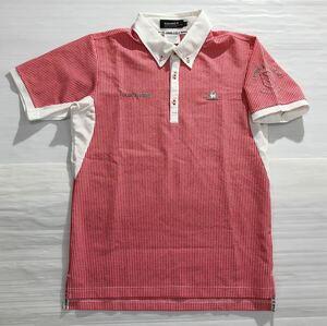 《le coq sportif GOLF ルコックゴルフ》ホワイトライン ロゴ刺繍 ギンガムチェック柄 ボタンダウン 半袖 ポロシャツ ホワイト×レッド M