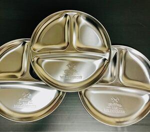日本製ステンレス仕切り皿 3枚 アウトドア皿セット