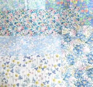 リバティ ブルー系 6種 ハギレ 花柄 コットン生地 タナローン ハンドメイド パッチワーク