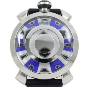 ガガミラノ マニュアーレ48 ミステリーユース 自動巻き メンズ 腕時計 ブルー×シェル文字盤 純正革ベルト 9090.02【いおき質店】