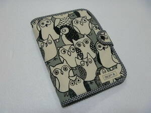 non-standard-sized mail postage included!..... bird owl pattern. .. pocketbook case S passbook & card-case gray repeated .
