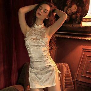タイトワンピース 美胸 花柄 薔薇 セクシー ベビードール チャイナドレス チャイナ服 シルクのような手触り ゴージャス 衣装セット