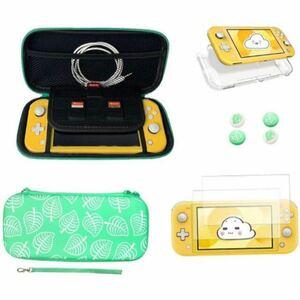 【4点セット】Nintendo Switch lite対応 収納/保護ケース(PU素材 大容量収納 防塵 耐衝撃)+本体透明