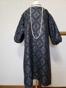 ◆新品 ドレス ワンピース 紺色 ハンドメイド 着物 リメイク パーティ フリーサイズ